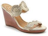 Jack Rogers Luccia Metallic Leather Whipstitched Medallion Wedge Sandals