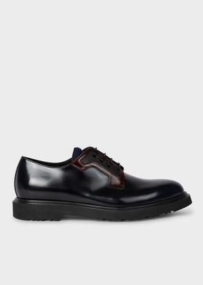 Paul Smith Men's Dark Navy High-Shine Leather 'Mac' Derby Shoes