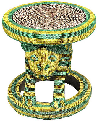 One Kings Lane Vintage Large King Bamileke Beaded Table/Stool - yellow green beige