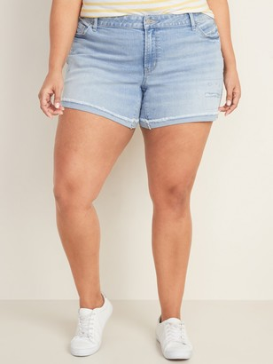 Old Navy Mid-Rise Distressed Plus-Size Boyfriend Jean Shorts -- 5-inch inseam