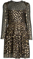 Rebecca Taylor Metallic Leopard-Print Long-Sleeve Dress
