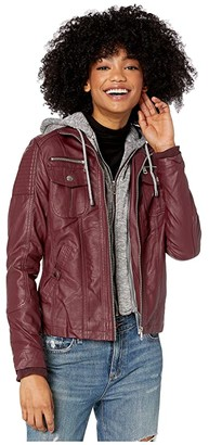 YMI Snobbish Faux Leather Jacket with Detachable Sweater Hood (Sangria) Women's Clothing