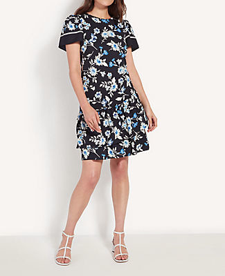 Ann Taylor Petite Floral Ruffle Hem Shift Dress
