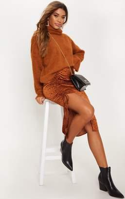 Nb Avenu Rust Satin Printed Ruched Side Midi Skirt