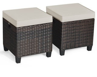 Overstock Outdoor Cushioned Rattan Wicker Ottomans