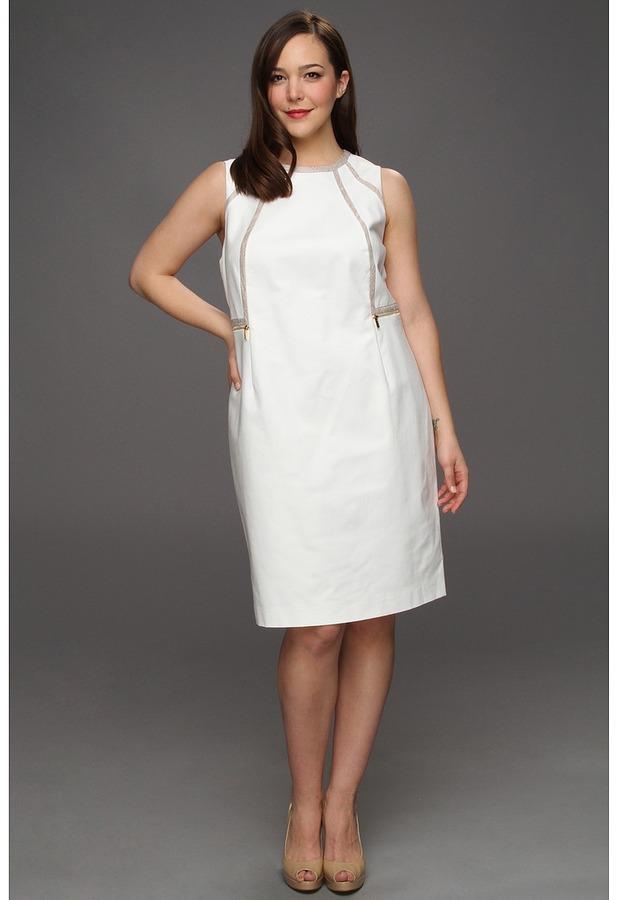 Calvin Klein Plus Size Piped Sheath Dress (Ivory) - Apparel