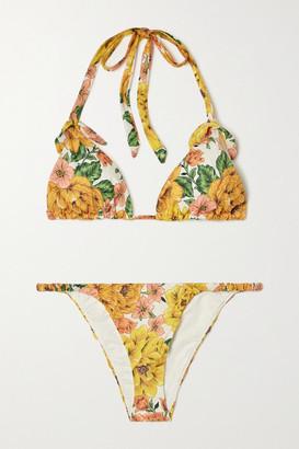 Zimmermann Poppy Floral-print Cotton Triangle Halterneck Bikini - Yellow