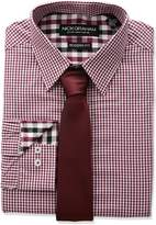Nick Graham Men's Mini Gingham Check Dress Shirt with Solid Tie Set
