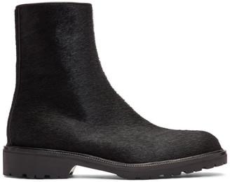 Dries Van Noten Black Pony Hair Zip Boots