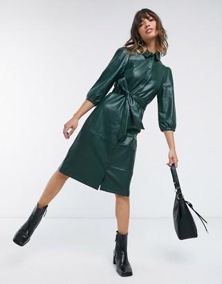 Vero Moda leather look midi dress with belted waist in dark green