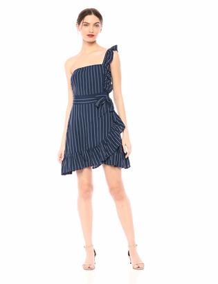 BB Dakota Junior's so one Sided Yarn Dyed Stripe Ruffle Dress