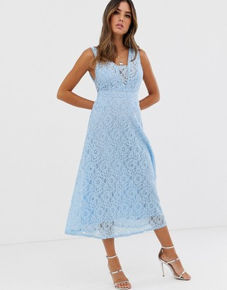 TFNC all over lace v neck midi dress-Blue