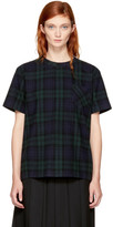 Sacai Navy & Green Plaid Pleated T-Shirt
