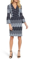 Maggy London Women's Jacquard Bell Sleeve Dress
