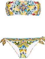 Dolce & Gabbana Ruched Printed Bandeau Bikini - Yellow