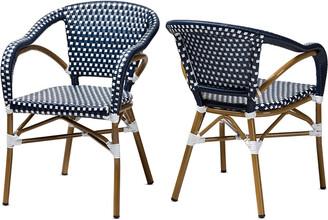 Design Studios Set Of 2 Eliane Indoor & Outdoor Bistro Dining Chairs