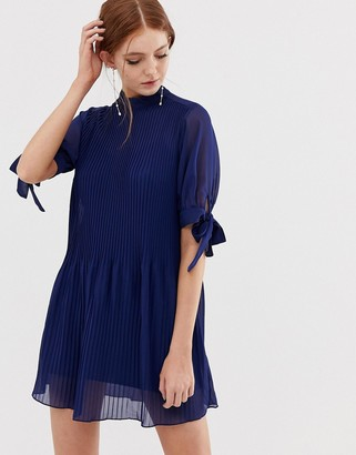 ASOS DESIGN pleated trapeze mini dress with tie sleeves