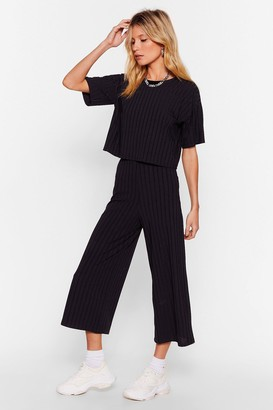 Nasty Gal Womens Recycled Try and Crop Us Tee and Culottes Set - Black - 10