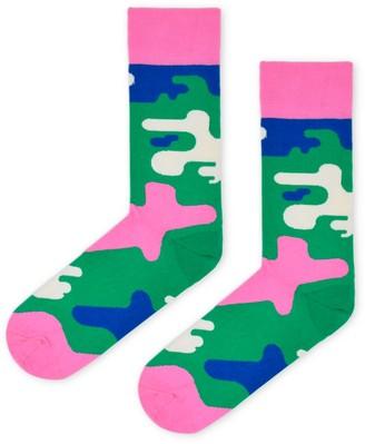 Look Mate London Green & Pink Camo Cotton Socks By Daniel Aristizabal