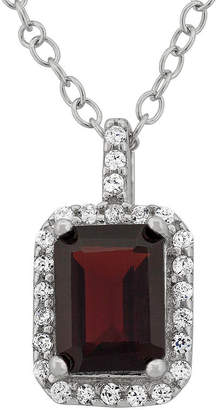 Fine Jewelry Genuine Garnet & Cubic Zirconia Sterling Silver Pendant Necklace