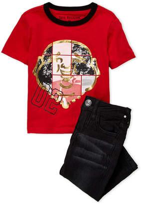 True Religion Newborn Boys) Two-Piece Red Buddha Face Tee & Jeans Set