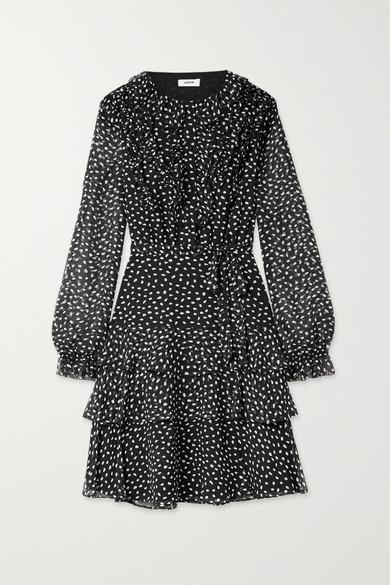 Jason Wu Belted Ruffled Polka-dot Silk-crepon Dress - Black