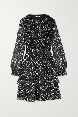 Jason Wu Belted Ruffled Polka-dot Silk-crepon Dress - Black