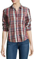 Frank And Eileen Barry Washed Plaid Cotton Shirt, Red Pattern