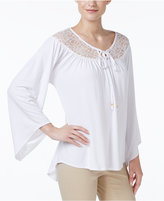 NY Collection Lace-Yoke Peasant Top