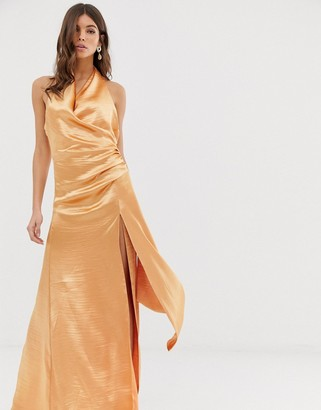 ASOS DESIGN halter maxi dress in high shine satin with drape neck