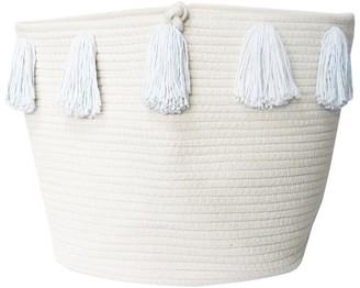 Twig + Tassel Blue Tassel Basket - Large