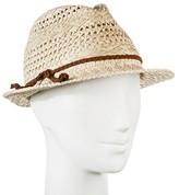 Merona Women's Straw Hat Fedora Natural Tan Pattern Weave with Brown Braid