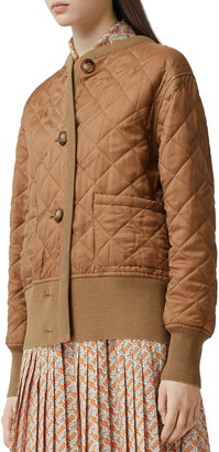 Burberry Nairn Quilt Front Logo Jacquard Sweater Jacket