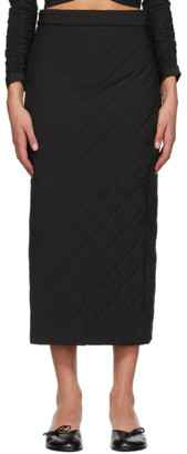 Markoo Black The Quilted Pencil Mid-Length Skirt