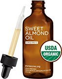 Pure Sweet Almond Oil (Organic) - For Skin, Hair and Face - 4oz Glass Bottle + FREE Recipe eBook! - All Natural Sensual Massage Oil - Use with Essential Oils and Aromatherapy as a Carrier and Base oil
