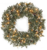"""clear National Tree Company 24"""" Glittery Bristle Pine Wreath With Lights"""