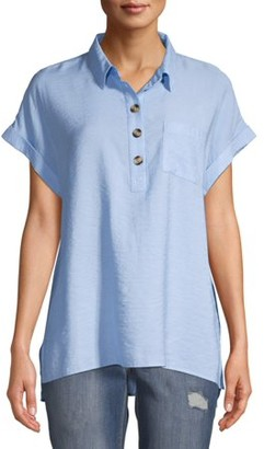 Time and Tru Women's Short Sleeve Button Tunic
