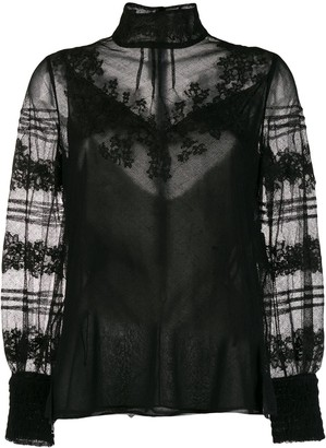Valentino Floral Embroidery High-Neck Blouse