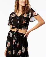 American Rag Juniors' Printed Ruched-Front Mesh Crop Top, Created for Macy's