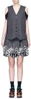 Sacai Tribal lace pinstripe vest suit dress