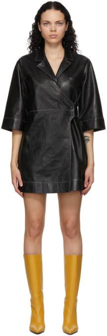 Ganni Black Lambskin Wrap Dress