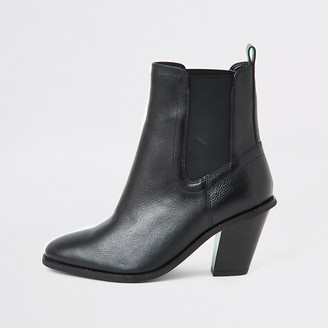 River Island Black leather western boots