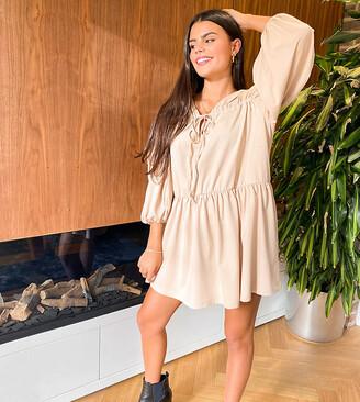 ASOS DESIGN Petite tiered long sleeve smock dress in camel