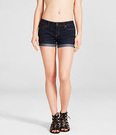 Aeropostale Womens Dark Wash Cuffed Denim Midi Shorts Blue