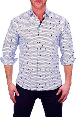 Maceoo Fibonacci Print Button-Up Shirt