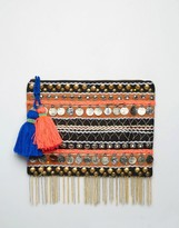 Asos Metal Coin And Tassel Clutch Bag