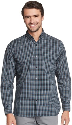 Van Heusen Men's Never Tuck Classic-Fit Plaid Button-Down Shirt