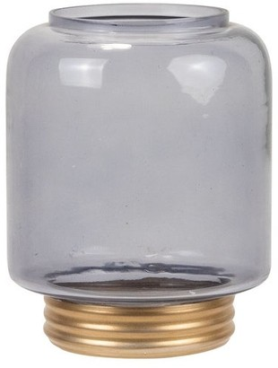 Foreside Home And Garden Foreside Home & Garden Small Gray Glass Vase with Gold Metal Base
