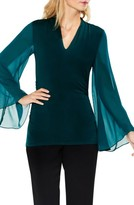 Vince Camuto Women's Bell Sleeve Side Ruched Chiffon Top
