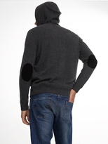 White + Warren Mens Cashmere Elbow Patch Hoodie